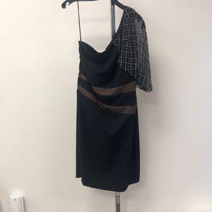 Bagdley Mischka Dresses - NWT Badgley Mischka One Shoulder Black Brown Dress